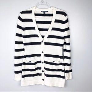 Brooks Brothers | Black & White Striped Cardigan